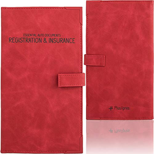 Auto Insurance and Registration Card Holder - Vehicle Glove Box Document Organizer - Car Essential Paperwork Holder for DMV, AAA, Contact Information Cards - Premium PU Leather Wallet Case - Red