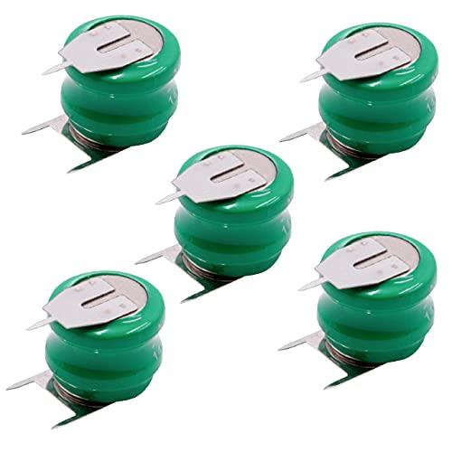 vhbw 5X NiMH Batería de botón de Repuesto Tipo V80H 3 Pines 80 mAh 2,4 V Compatible para lámparas solares, etc.