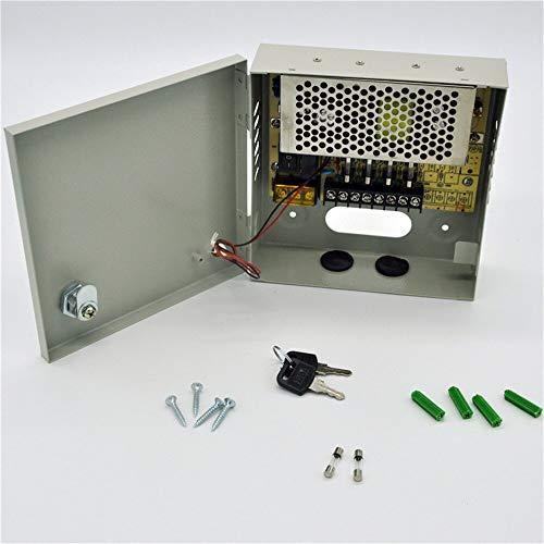 RPS Fuente de alimentación con Caja Metalica y Llaves incluida para CCTV y cámaras de videovigilancia 18x17x5 cm DC 12V 5A 60W 4 Canales