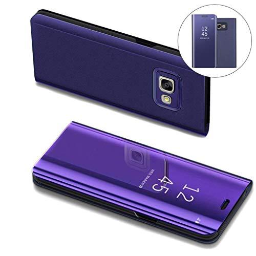 COTDINFOR Samsung J5 Prime Hülle Ledertasche Handyhülle Slim Clear Crystal Spiegel Flip Ständer Etui Hüllen Schutzhüllen für Samsung Galaxy On5 2016 / J5 Prime SM-G570F Mirror PU Purple MX.