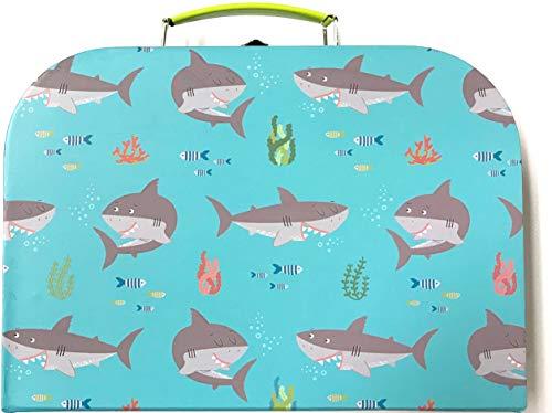 Sass and Belle koffer/kinderkoffer/poppenkoffer/opbergdoos. Kartonnen koffer, 3 verschillende maten. M/Mittel Shelby The Shark