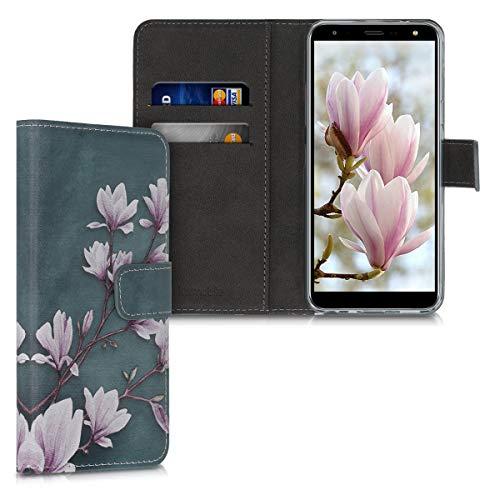 kwmobile Funda Compatible con LG K40 - Carcasa de Cuero sintético Magnolias - con Tarjetero