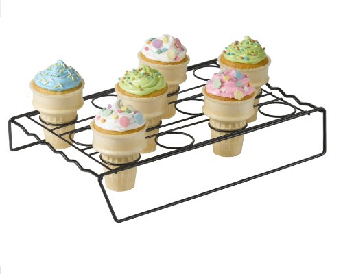 Nifty Ice Cream Cone Cupcake Baking Rack – Holds up to 12 Medium & Large Cupcake Cones, Non-Stick, Dishwasher Safe, Use for Baking, Cooling & Serving Treats