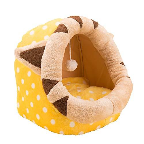 SSDAOO Tienda para Mascotas Cama Cueva, Mascota Semicerrada, Tienda para Gatos Cálida En Invierno, Salón para Perros, Tienda para Perros con Cojín Extraíble Y Lavable,Tiger