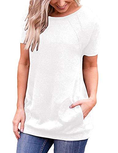 iClosam Camiseta para Mujer Verano con Cuello Redondo Túnica Loose Fit Top con Bolsillos Laterales S-XXL (Blanco, XL)