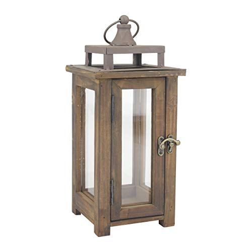 Stonebriar Decorative Rustic Wooden Hurricane Candle Lantern with Handle and Hinged Door, SMALL,...