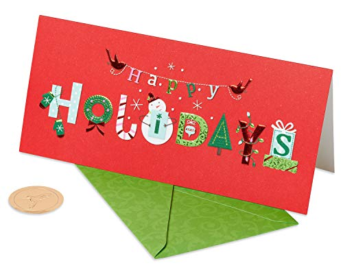 Papyrus Money Holder Christmas Cards Boxed, Happy Holidays (16-Count)