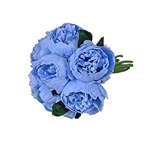 Artificial Flowers Beautiful Peony Artificial Flower Fake Flower Hibiscus Wedding Hand Holding Decorative Flower Home Accessories Fake Flowers (Color : Blue)