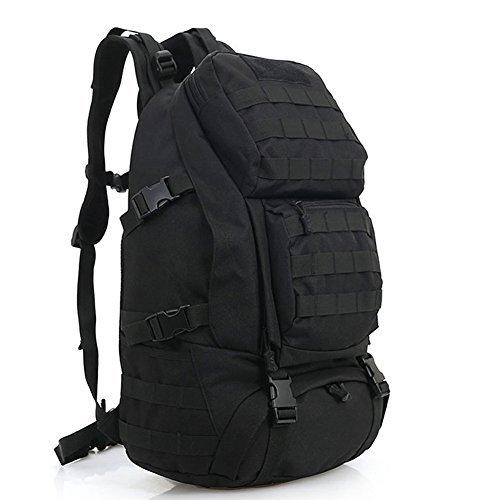 Aiyuda Outdoor 20L Zaino Militare Tattico MOLLE 1000d Nylon grande impermeabile Assault Pack per Campeggio Trekking Escursionismo, Uomo, Black, 25L