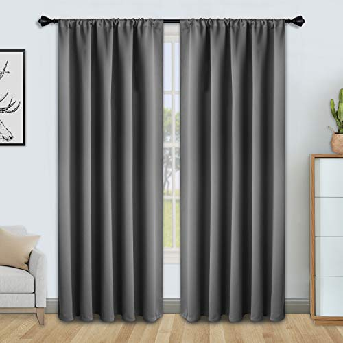 FLOWEROOM Grey Blackout Curtains for Bedroom 52 x 84 inch Length- Winter/Summer Thermal Insulated Window Curtain Panels, Sun Blocking and Noise Reducing Rod Pocket Living Room Curtains, 2 Panels