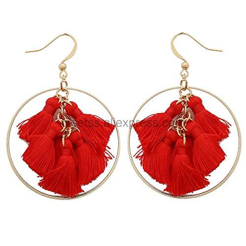 Bohemian Long Tassel Earrings White Round Dangling Earrings For Women Circle Vintage Statement Wedding Indian Earring,W73655