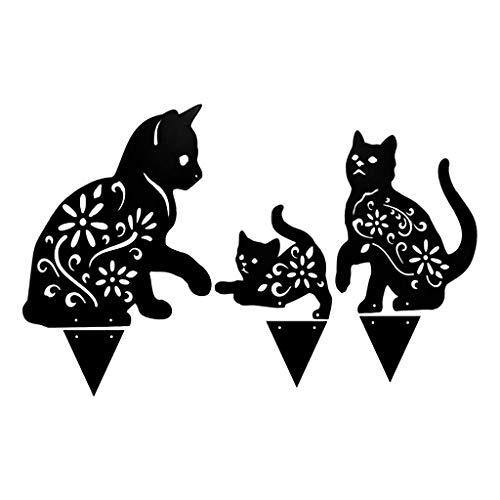 FUNCOCO Tarjeta de inserción, 1 Juego de Metal con Silueta de Gato, estaca, Arte, jardín de Hadas, decoración del hogar, Adornos para césped al Aire Libre