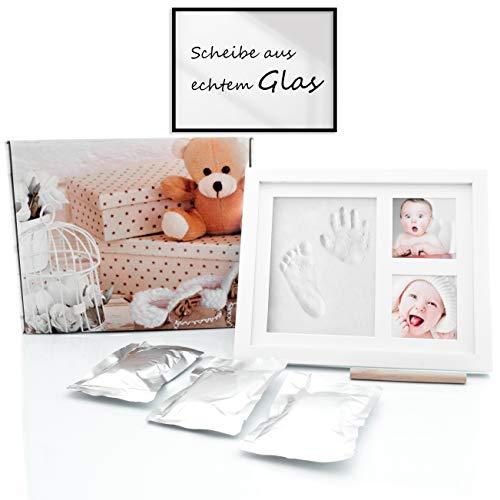 Baby Handabdruck und Fußabdruck mit Echtglas - Baby Holz Bilderrahmen mit Gipsabdruck - Hand und Fuß Gipsabdruck Set inklusive Holzrolle - Abdruckset für Fussabdruck - Geschenk für Neugeborene