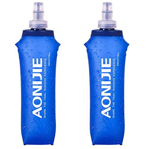 TRIWONDER TPU Soft Folding Water Bottles BPA-Free Collapsible Flask for Hydration Pack - Ideal for Running Hiking Cycling Climbing (500ml/16.9oz - Pack of 2)