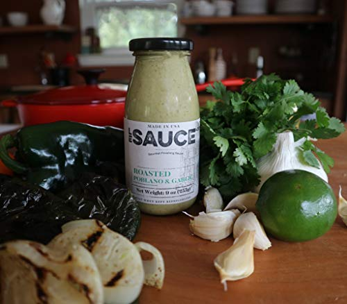 Le Sauce Gourmet Roasted Poblano & Garlic Finishing Sauce, great on chicken, panko pork chops, fish, vegetables, foodie gift (2-Pack)