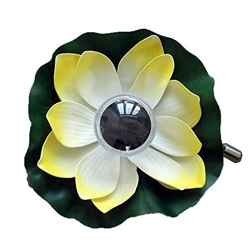 Lotusblumen-Solarleuchte - Lichtsteuerung, schwimmend, realistisch, wetterfest, wasserfest, LED-Lampe für Pool/Garten/Teich/Festival Party Dekoration, gelb, Free Size