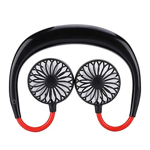 Draagbare nekbandventilator Draagbare nekhangende ventilator USB Oplaadbare persoonlijke ventilator Koeltafel Bureau Handvrij Draagbare sport Nekventilator voor op reis Sport Outdoor Camping(Zwart)