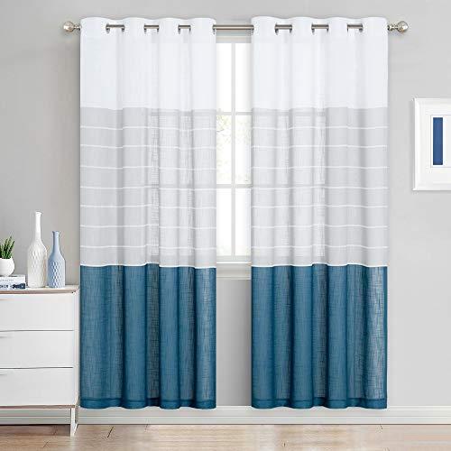 NICETOWN - Cortinas semitransparentes para decoración del hogar de 183 cm de largo, para sala de estar, azul marino y gris claro, cortinas de rayas con filtro de luz para granja,...