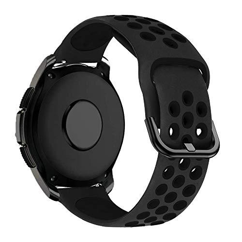MroTech Armband 20mm kompatible mit Samsung Galaxy Watch 42MM/Active 2/Active2 40mm/44mm Sportarmband Silikon Ersatz für Huawei GT 2 42MM/Vivoactive 3/Vivomove HR Ersatzarmband 20 mm Schwarz/Schwarz