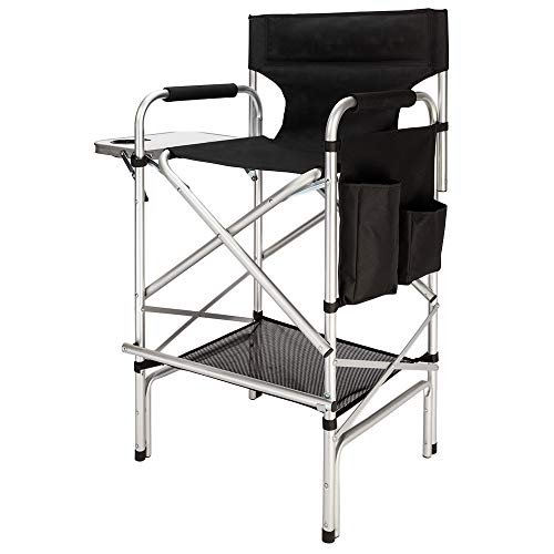 Mefeir 31' Tall Folding Director Chair with Side Table Storage Bag,Portable Makeup Artist Bar Height, Aluminum Frame 300 lbs Capacity, 33.8' L x 19.2' W x 45.6' H