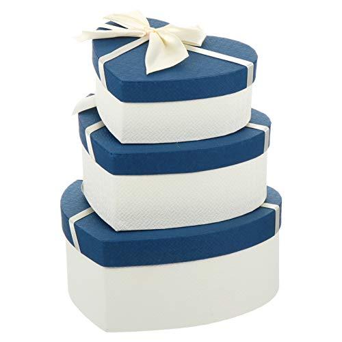 GARNECK Cajas de Regalo en Forma de Corazón de 3 Piezas con Cinta de Cubierta para Bodas Día de San Valentín Azul Beige 2