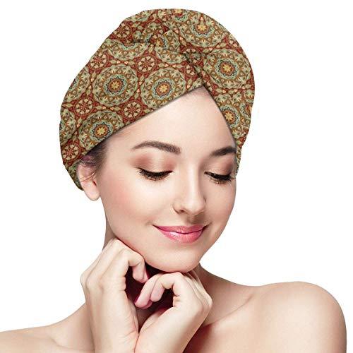 HomeLEE Quick Dry Haar Wrap Handdoeken Turban, Etnische Abstract Arabische Flora Patroon Middeleeuwse Mozaïek Tegel Ontwerp, Absorbens Douche Cap