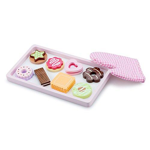 New Classic Toys Plateau Biscuits et Gant de Four en bois Jeu d'Imitation Éducative pour Enfants