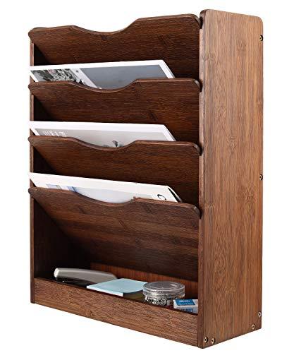 ESYLIFE Hängeregistratur-Organizer aus natürlichem Bambus, 5 Etagen, Wandmontage, Dokumentenmappe, Zeitschriftenständer, Retrobraun