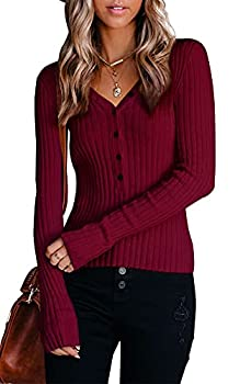 Long Sleeve for Women - Sexy Button V Neck Ribbed Henley Shirts Basic Tops Wine Red Medium