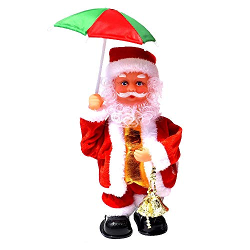 LUCKSTAR Xmas Santa Claus Toy-Electric Creative Music Doll Singing Dancing Santa Claus Ornaments Christmas Decorations (Umbrella)