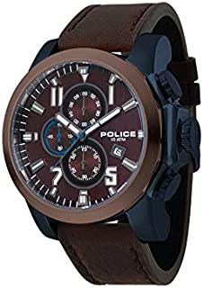 Bevilles Police Thrust Mens Watch Model PL15340JSBLBN/12 Leather 3 Hands 4895148689967 Brown