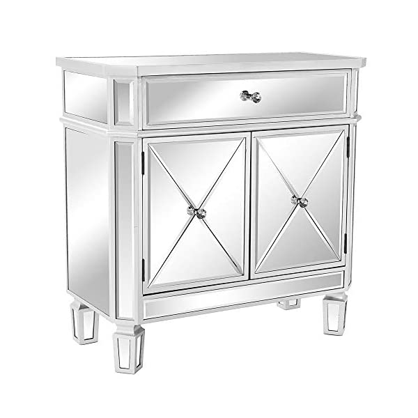 """VINGLI Mirrored Cabinet Mirrored Dresser Accent Chest Large Nightstand with 1 Drawer and Two Doors, 27.5""""W x 13.4""""D x 32.5""""H, Mirror"""