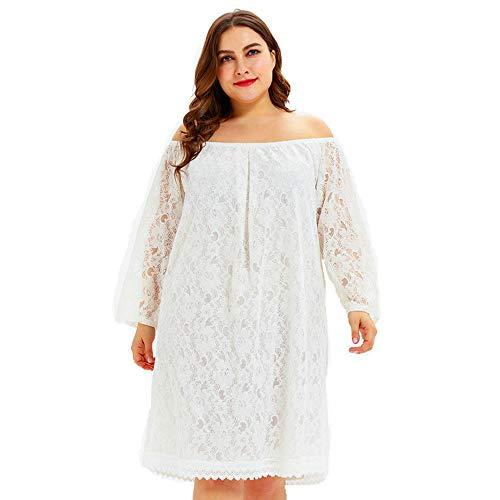 wengshilin Dames Bloemenkant Lange mouw Grote maten kanten jurk Twee manieren om een rok te dragen