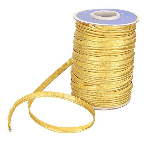 Borda Trança, Fita de Costura, Costura Costura Encadernação Costura Resistência a rugas Guarnições de costura Confecção de roupas laváveis à máquina para tubulação de costura(Golden)