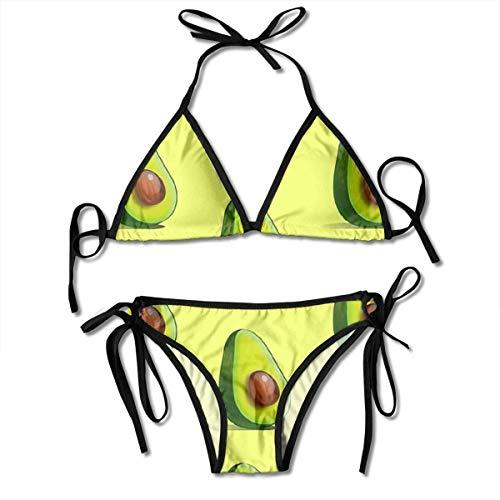 Traje de baño de Dos Piezas Sexy de Aguacate para Mujer Traje de baño de Bikini con Corbata Lateral Traje de baño Traje de Talla única Más
