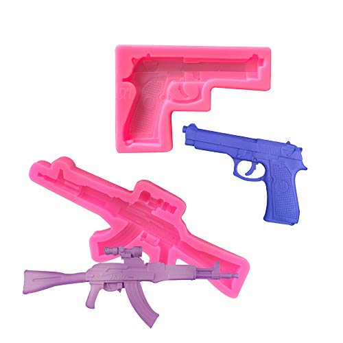 LOANPE 2 Pieces Gun Silicone Molds, Imitation Pistol Machine Gun Mold, Weapon Guns Shaped Silicone Baking Molds DIY Candy Chocolate Fondant Molds for Making Sugar, Cake, Chocolate, Candy, Polymer Clay