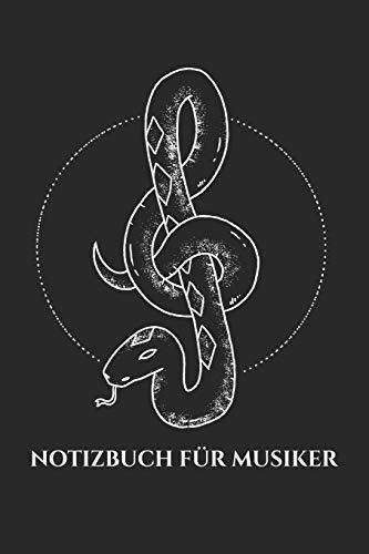 Notizbuch für Musiker: Notizheft für Schlangen Liebhaber & Musiker | Kreuzotter | Notenschlüssel | A5 | kariert