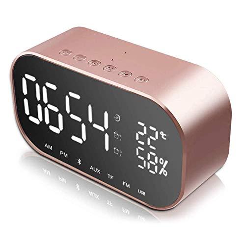Reloj despertador digital con altavoz Bluetooth, reloj digital con doble puerto de carga USB, altavoz estéreo dual de 3 W, radio FM, Bluetooth 4.2, tarjeta AUX TF, regulable, repetición, termó