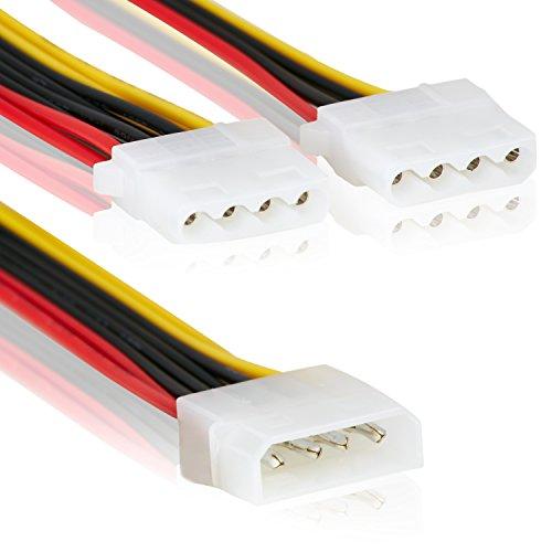 2 Fachstecker - Molex IDE 1 zu 2 Stecker | Mehrfachstecker | 14cm | Anschluss Stromstecker Splitter Y-Adapter Verteiler LP4 3er Stecker Strom –MOVOJA