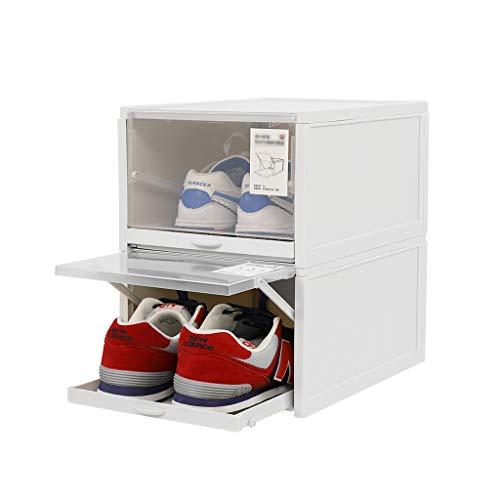 HHJJ 2 Paquetes de Caja de Almacenamiento de Zapatos apilable, Claro de plástico de plástico Organizador Caja de Deporte para Hombres Zapato de Mujer, contenedor de Zapatos (Color : Blanco)
