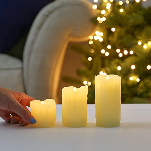 Festive Lights - (Lot de 3) Bougies LED Effet Flamme Vacillante en Cire Effet Fondu type Pilier - Éclairage Ultra Réaliste Décoration Intérieure (Piles Incluses)