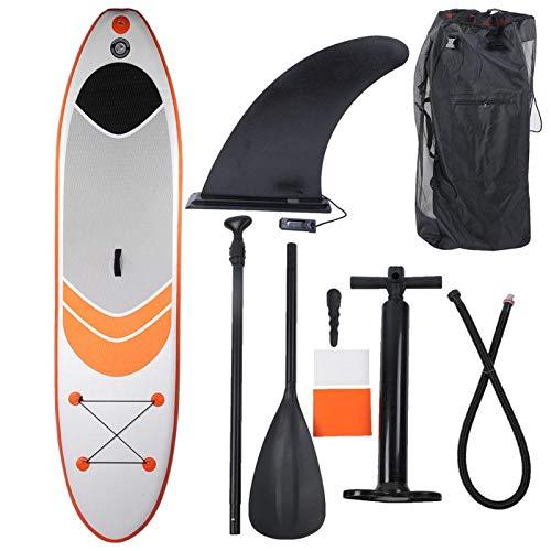 Gaeirt Tabla de Paddle Surf Inflable, Tabla de Surf Inflable portátil con Accesorios y Mochila para Sup, Antideslizante, Parches, Bomba de Mano, Tabla de Surf para Deportes acuáticos(Naranja)
