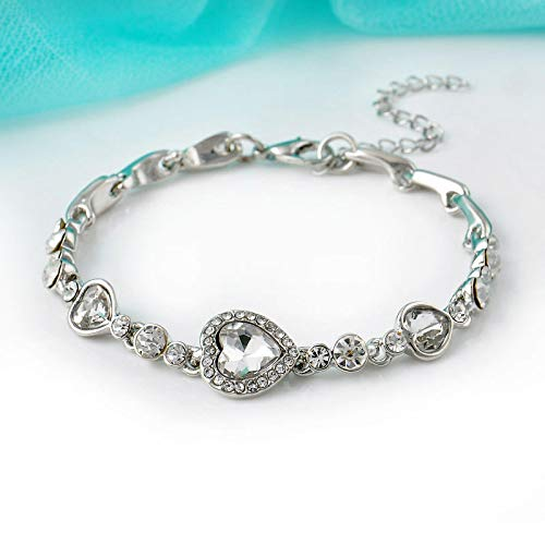 Pulsera Pulsera De Diamantes De Imitación De Cristal De Corazón Oceánico para Mujer, Regalo De Niña, Pulseras De Cadena De Acero Inoxidable, Blanco