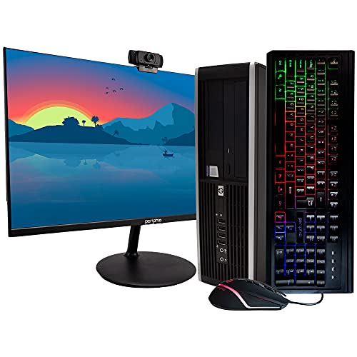 HP EliteDesk 8200 Business Desktop PC - Intel Core i7-2600 3.4GHz, 16GB RAM, 500GB SSD, Windows 10 Pro 64bit, New 24 Inch Monitor, Rainbow Keyboard and Mouse (Renewed)