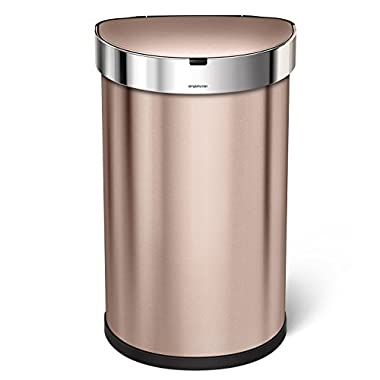 simplehuman 45 Liter/12 Gallon Stainless Steel Semi-Round Sensor Can, Touchless Automatic Trash Can, Rose Gold Stainless Steel