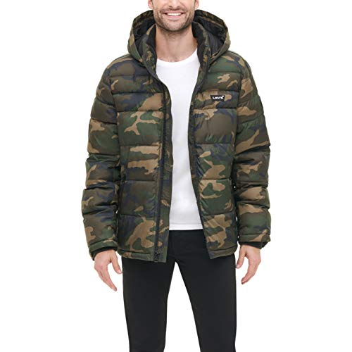 Levi's Men's Mid-Length Quilted Performance Hoody Puffer Jacket, Camouflage, Large