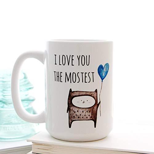 N\A Dason I Love You The Mostest con Taza de café con Globo de corazón Azul para el día de San Valentín de Milk Honey