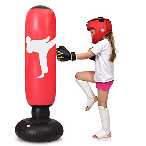 TUOWEI Kids Punching Bag, Inflatable Punching Bag for Kids 63Inch Freestanding Boxing Bag Bounce Back for Practicing Karate, Taekwondo, MMA, Kids Adults Boxing Toy