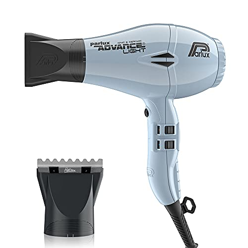 Parlux Advance Light ICE Ionic and Ceramic and M Hair Designs Hot Blow Attachment Silver (Bundle - 2 Items)