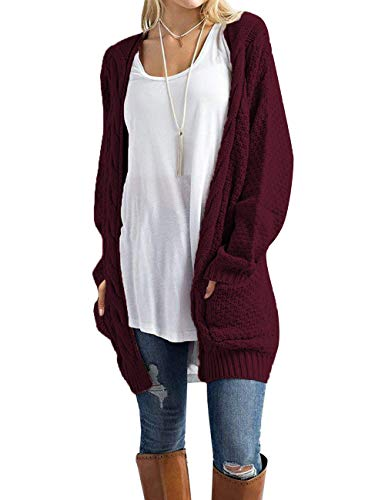 Traleubie Women's Boho Long Sleeve Open Front Chunky Warm Cardigans Pointelle Pullover Sweater Blouses Burgundy XL